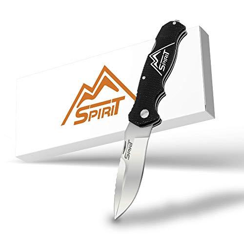 OUTDOOR SPIRIT® Zweihand Klappmesser 2 in 1 - Taschenmesser mit scharfer Edelstahlklinge 440C - Zweihandmesser mit Aluminiumgriff - Outdoor-Messer für Camping & Wandern (Schwarz)