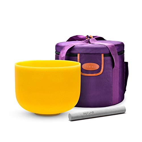 Topfund Yellow E Note Crystal Singing Bowl Solar Plexus Chakra 10 Inch With Heavy Duty Carrying Case And Suede Striker