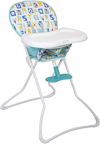 Graco Snack N'Stow Hochstuhl, Baby Hochstuhl ab 6 Monaten, Kinderstuhl mit Tisch, zusammenklappbar, Überzug abwaschbar, mitwachsend, abnehmbares Tablett, Sicherheitsgurt, weiß, Block Alphabet