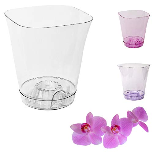 Orchid Pots with Holes Breathable Clear Plastic Plant Pot Set Pack of 5 pcs M2-150mm