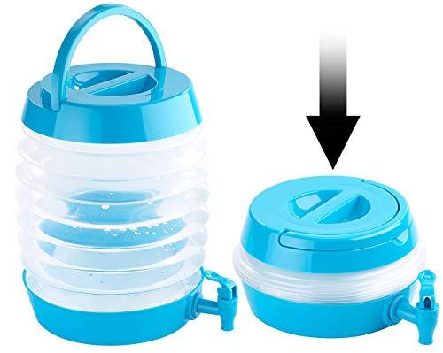 PEARL Wasserkanister: Faltbares Fässchen, Auslaufhahn, Ständer, 7,5 Liter, blau/transparent (Faltbarer Wasserkanister)