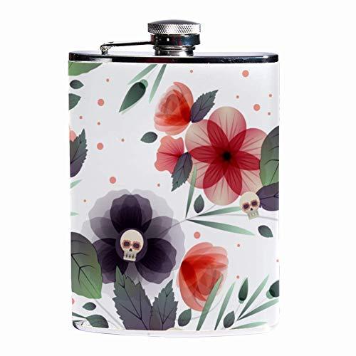 Rundafuwu Pallone per liquore, Leak Proof Liquor Hip Flask 7 oz Flagon Mug with Floral Background with Skulls Print Pocket Container for Discrete Shot Drinking of Whiskey Liquor