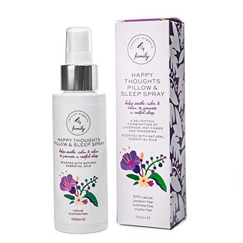 Happy Thoughts Lavender Pillow & Linen Spray - Relaxing Lavendar Deep Sleep Spray- Aromatherapy Fragrance Mist for Home, Office, Bathroom- All-Natural Sleep Aid, 100 ml