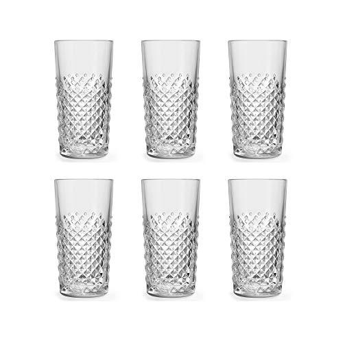 Libbey Bicchiere long drink Carats 41cl / 410ml - set di 6 pezzi – disegno classico - motivo retrò