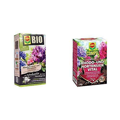 Compo Bio Rhododendron Langzeit-Dünger für alle Rhododendren und andere Morbeetpflanzen + Rhodo- und Hortensien Vital, Spezialdünger zur Reduzierung des pH-Wertes im Boden, 1 kg