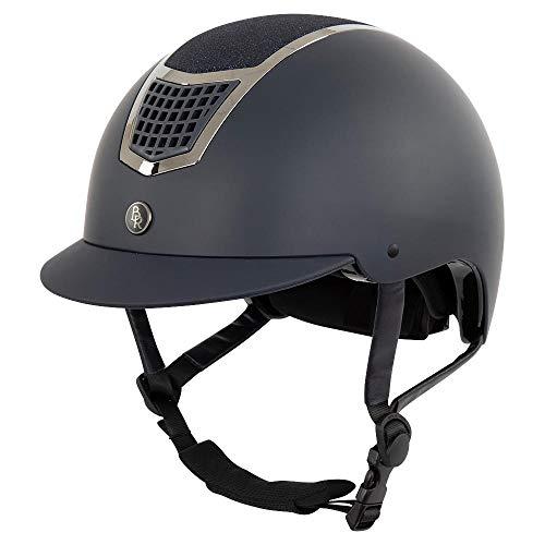 Bieman de Haas BR - Casco da equitazione Lambda con glitter e pratici fori di ventilazione sulla parte superiore (56/58, blu navy/canna di fucila)