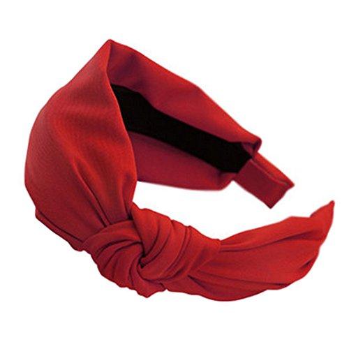Chiffon doux Bandeau cheveux bande Hairband Accessoire pour femmes, Rouge