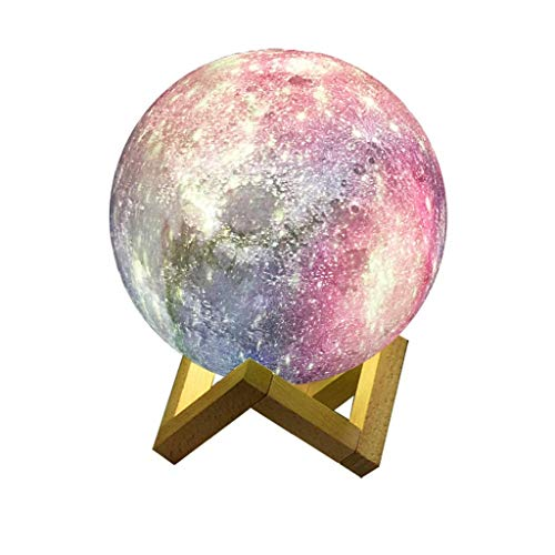 Lampada lunare Stampa 3D GUIDATO Lampada lunare 2 Colore Dimmable Touch Control Commutazione luminosità luce massello di legno massello Staffa for decorazione domestica e regali Luce notturna (Colore: