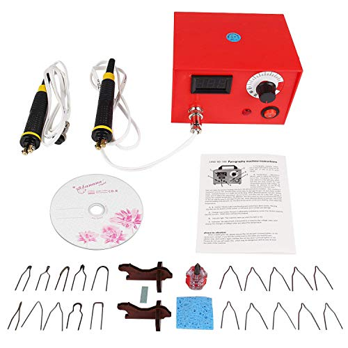JIAN YA NA Máquina de Pirograbado 50 W 220 V Portable Craft Quema de Madera Talla Doble Pluma Herramienta de Pirografía Profesional de Madera Quema Kit (Pantalla digital)