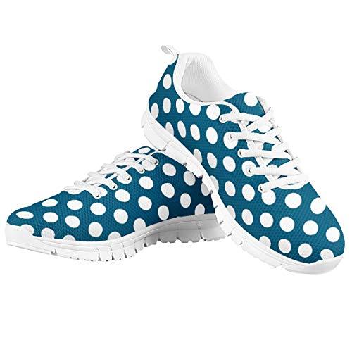 Amzbeauty Zapatillas de deporte para mujer, ligeras, para correr y correr, cómodas, informales, deportivas, para caminar, diseño de puntos 2-8UK, color Azul, talla 34 EU