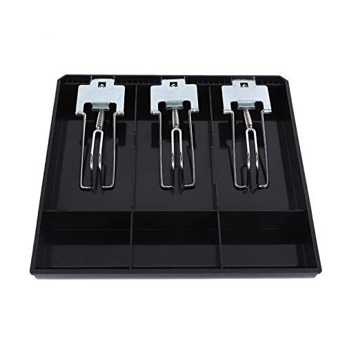LilyJudy Bandeja de inserción de 3 cuadrículas, caja de registro de dinero, caja de registro de almacenamiento, caja de clasificación de tienda