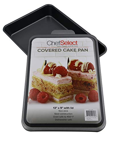 Chef Select Covered Cake Pan, Metal Lid, 13-Inch by 9-Inch, Non-Stick, Steel