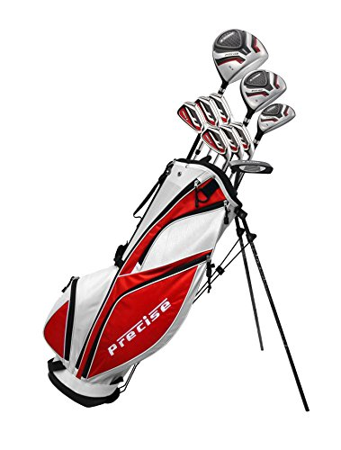 MDXII Men's Complete Golf Clubs Full Package Set Includes Titanium Driver, S.S. Fairway, S.S. Hybrid, S.S. 5-PW Irons, Putter, Bag, HC's (Tall Size +1