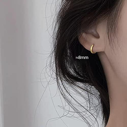 CXWK 1 par de Pendientes de aro Minimalistas de Plata de Ley 925 para Mujer, Pendientes Redondos pequeños de Oro de 6 mm / 8 mm / 10 mm / 12 mm / 15 mm