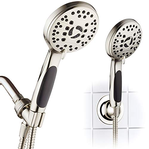 AquaSpa High Pressure 6-setting Luxury Handheld Shower Head – 6 Foot Stainless Steel Hose – Anti Clog Jets – Anti Slip Grip – All Brushed Nickel Finish – Top US Brand – Includes Extra Wall Bracket