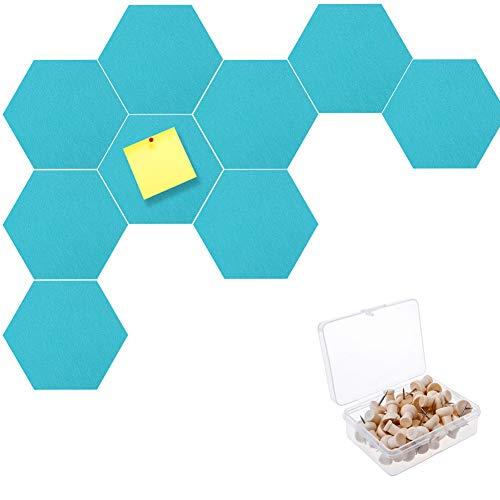 10 piezas hexágonos de Fieltro Autoadhesivo,tableros de anuncios de corcho Tablero de anuncios de pared con alfileres de fieltro tablero de fieltro hexagonal con alfileres de empuje para pared (Azul) 🔥