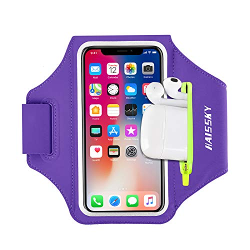 Running Armband with Airpods Bag Cell Phone Armband for iPhone 12 Pro 11 Pro Max 11 XR XS X 8, Galaxy S9 S8 Water Resistant Sports Phone Holder Case & Zipper Slot Car Key Holder for 6.5 inch Phone