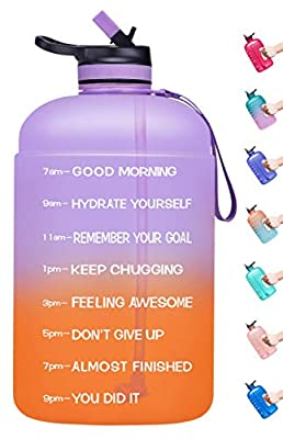 Venture Pal Large 1 Gallon Motivational Water Bottle with 2 Lids (Chug and Straw), Leakproof BPA Free Tritan Sports Water Jug with Time Marker to Ensure You Drink Enough Water-Purple/Coral Gradient