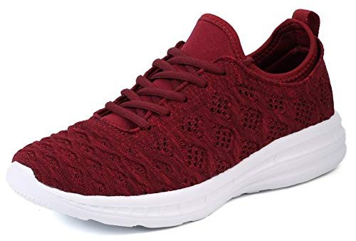 JOOMRA Women Gym Tennis Shoes Comfortable Running Walking for Youth Ladies Lightweight Working Out Sport Fashion Sneakers Burgundy Size 7