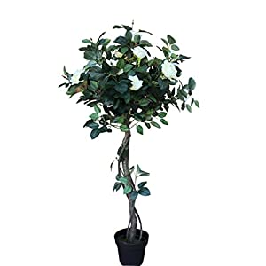 AMERIQUE 4 Feet Gorgeous & Lifelike White Artificial Tree 12 Rose Flowers and Twist Trunks, with Nursery Pot, Real Touch Tech, 485 Leaves, Green & White