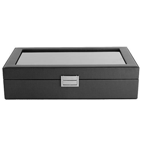 OIHODFHB Caja de almacenamiento para reloj con 6 ranuras y 3 ranuras para 6 unidades, color negro