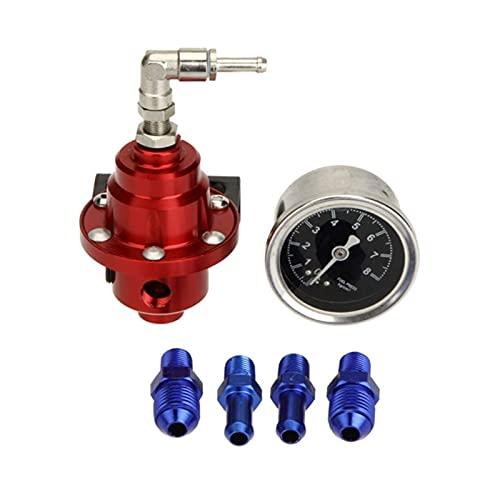 MINGYUYUYY Regulador de presión de Combustible de Aluminio Ajustable Universal con Kit de Calibre 7 Color 1XCF (Color : Red)