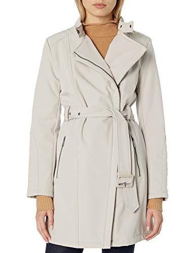 Kenneth Cole New York Women's Belted Soft Shell Rain Jacket, Bone, X-Large