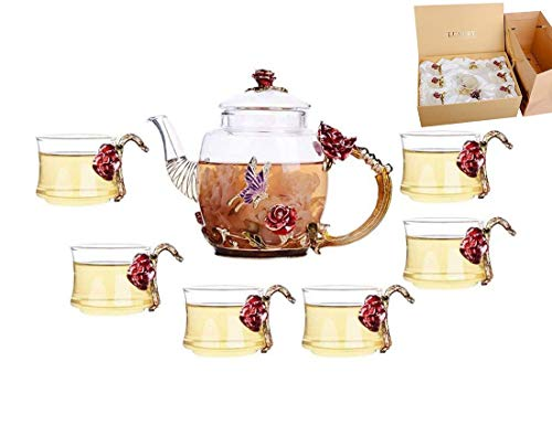 YBK Tech Creative Flower Glass Teapot and Cup Set Crystal Glass Kung Fu Tea Cup Set for Hot Beverage, Iced Tea, for Sister, Mom, Grandma, Teachers (Red rose)