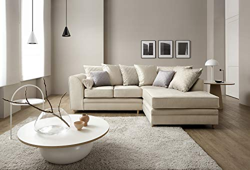 Abakus Direct Chicago Corner Sofa Settee Right or Left in Cream Water Repellent Velvet Fabric (Right Hand Facing)