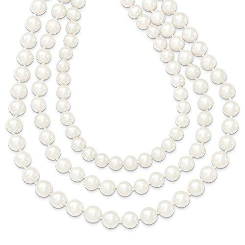 Damen Halskette 14 Karat Gold 8-9 mm weiße Zuchtperlen 3-reihig 40,6 cm