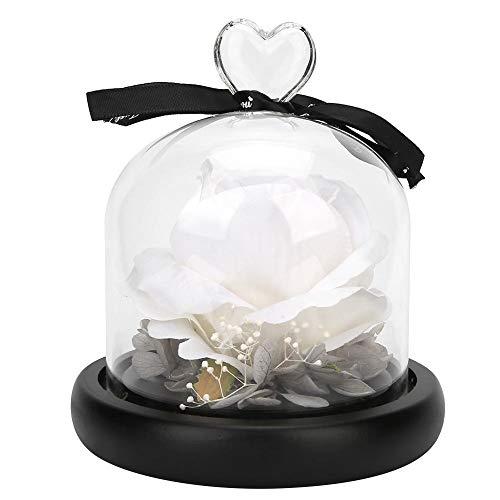 HERCHR Forever Rose avec dôme en Verre pour Les décorations de Table de Fleurs de la Saint-Valentin(Blanc crémeux)