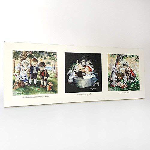 Cuadro 3 Obras de Misericordia Espirituales 80x30cm. Ilustración de Juan Ferrándiz impresa en lienzo. Serie limitada y numerada. Regalo Comunión y Bautizo