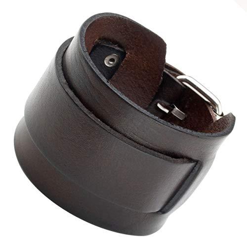"""PiercingJ Breite Leder Echtleder Armband Armreifen Manschette Armband verstellbaren 7.2\""""-9\"""" Unisex Punk Biker Rock, schwarz/braun (Braun)"""