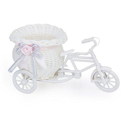 Cikuso Mimbre Hecho A Mano De La Flor De Tres Ruedas Canasta De La Bicicleta para La Decoracion De Almacenamiento Florero - Rosa Blanca