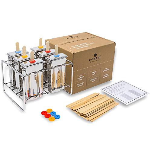 ecozoi Umweltfreundliche EIS-Popsicle-Formen und -Rack aus Edelstahl - 6 EIS-Pop-Hersteller + 30 Wiederverwendbare Bambusstöcke + 12 Silikondichtungen + 1 Rack, Flache Form