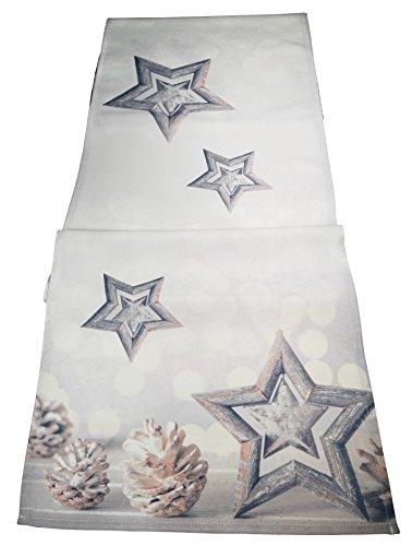 khevga Tischläufer Weihnachten modern Silber grau 40x160