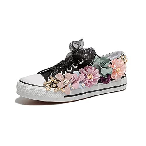 LIZONGFQ 2021 Mujer Zapatos Flores Moda Casual Zapatos De Lona Blanco Tacón Plano Estudiante Con Cordones Blancos, C,36