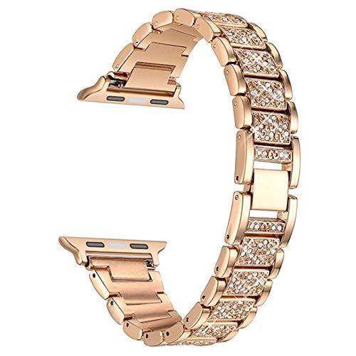 Banda para Apple Watch Band Series 6 5 4 3 2 1 Correa de diamantes para mujer para iWatch 6 44MM 40MM 42MM 38MM Pulsera de acero inoxidable
