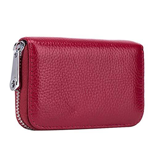 Cartera de bloqueo de tarjetas de protección segura titular de tarjetas portátiles bolsa (claret) almacenamiento de equipaje
