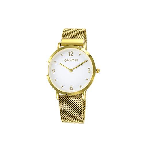 Reloj Bilyfer para Mujer con Correa Dorada y Pantalla en Blanco 3P556B-D