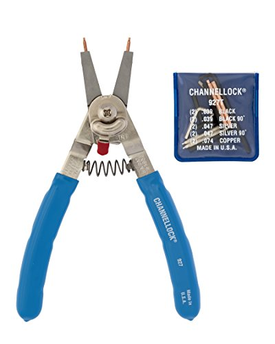 Channellock 927 8-Inch Snap Ring Plier | Precision Circlip Retaining Ring Pliers | Includes 5 Pairs of Interchangeable Tips | Made in the USA