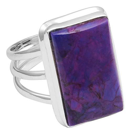 Silver Palace Anillo de plata de ley 925 sólida turquesa púrpura para mujeres y niñas tamaño-9.75 FR-642