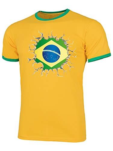 Brasilien Brazil Brasil Fan t Shirt Artikel 5671 Fuss Ball Welt Ringer Tee WM 2022 Trikot Look Flagge Fahne Männer Herren Spieler Team Gaucho XL