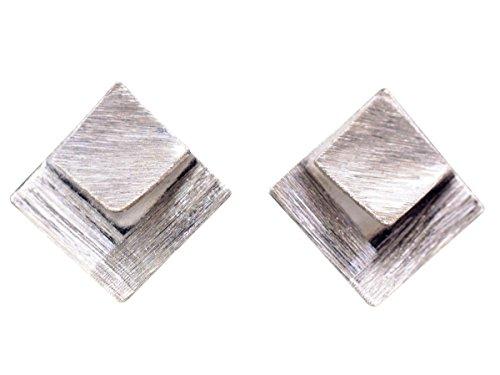 NicoWerk Silber Ohrstecker Quadrat Viereck Rechteck Matt Gebürstet Damen 925 Ohrringe Stecker Ohrschmuck Geschenk Sterling SOS220