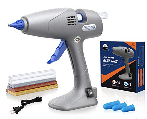 Hot Glue Gun with 16pcs Glue Sticks, Glue Gun Full Size 80/120W Dual Power, Corded & Cordless Glue Gun with Base Stand, Craft Glue Guns for Crafts, DIY, Home Repairs, Christmas Decoration, Gifts