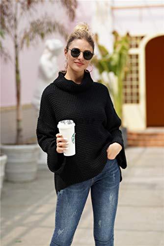 QXPORV gebreide trui voor dames met lange mouwen sweatshirt, effen rolkraagpullover voor lente en herfst, lange mouwen, grote rolkraagpullover voor Europa en de Verenigde Staten