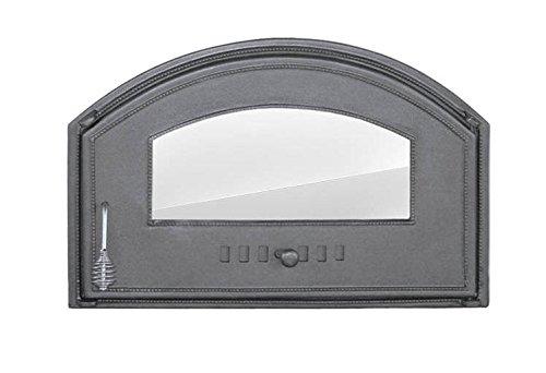 Backofentür Ofentür Pizzaofentür Holzbackofentür Steinbackofentür aus Gusseisen mit Ofenscheibe | Außenmaße: 700x460 mm | Öffnungsrichtung: rechts