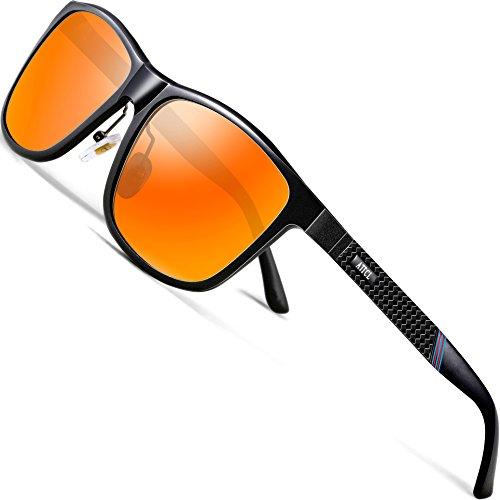 ATTCL Gafas De Sol Hombre Polarizadas Retro Estructura De metal Al-Mg 858-8 Red