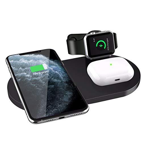 Cargador Inalámbrico Rápido, 3 en 1 Soportes de Carga para Apple Watch 5/4/3/2/1, AirPods Pro, Estación de Carga Qi Inalámbrica para iPhone SE(2020)/11 Pro/11 Pro Max/XR/XS/X/8, Samsung Galaxy S20/S10