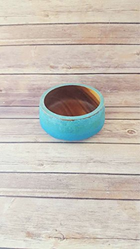 Turquoise Wooden Decorative Bowl